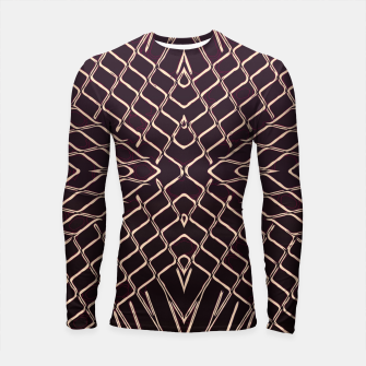 geometric symmetry line pattern abstract in brown Longsleeve rashguard  thumbnail image