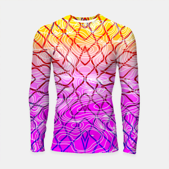 geometric symmetry line pattern abstract in purple pink orange yellow Longsleeve rashguard  thumbnail image