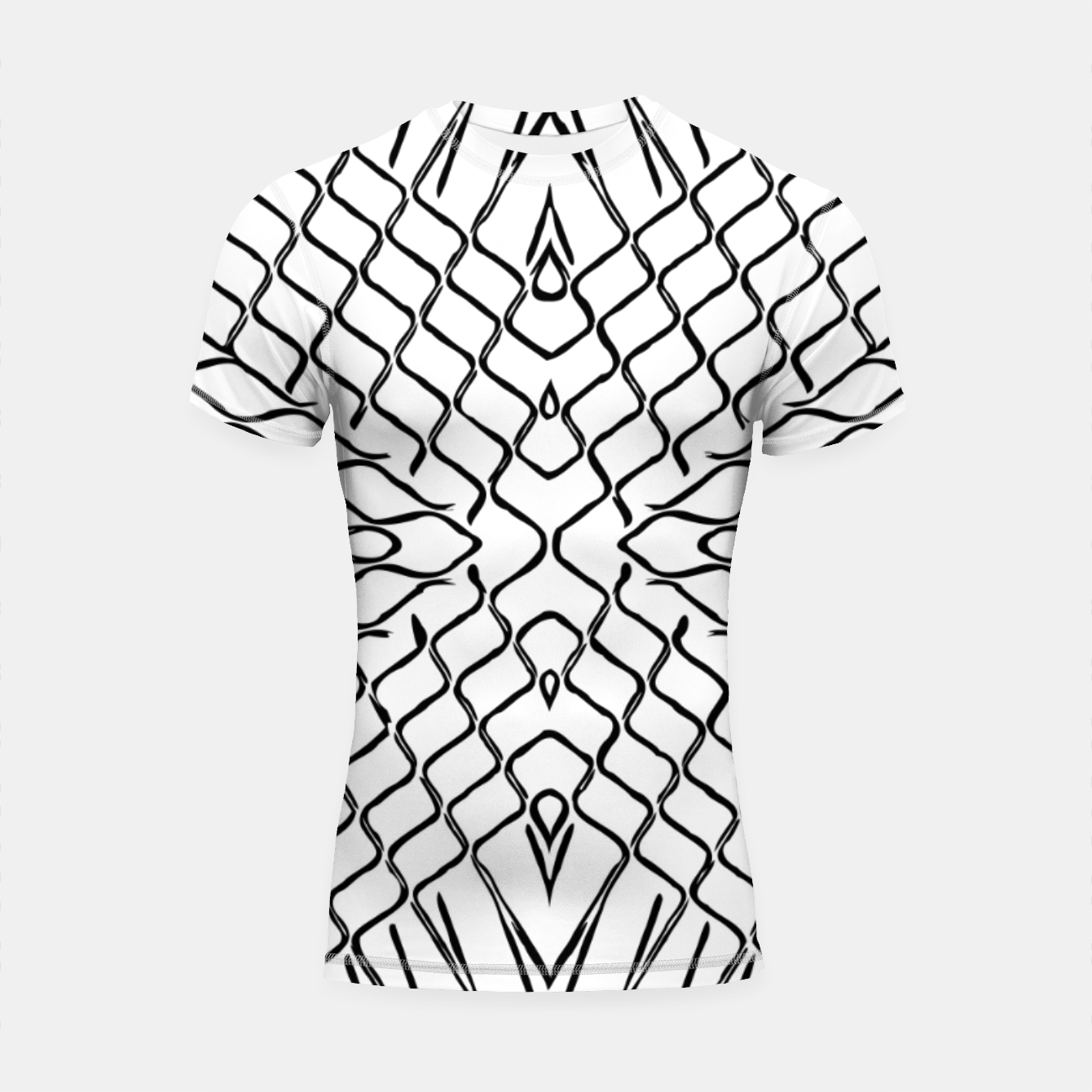 Image of geometric symmetry line pattern abstract in black and white Shortsleeve rashguard - Live Heroes