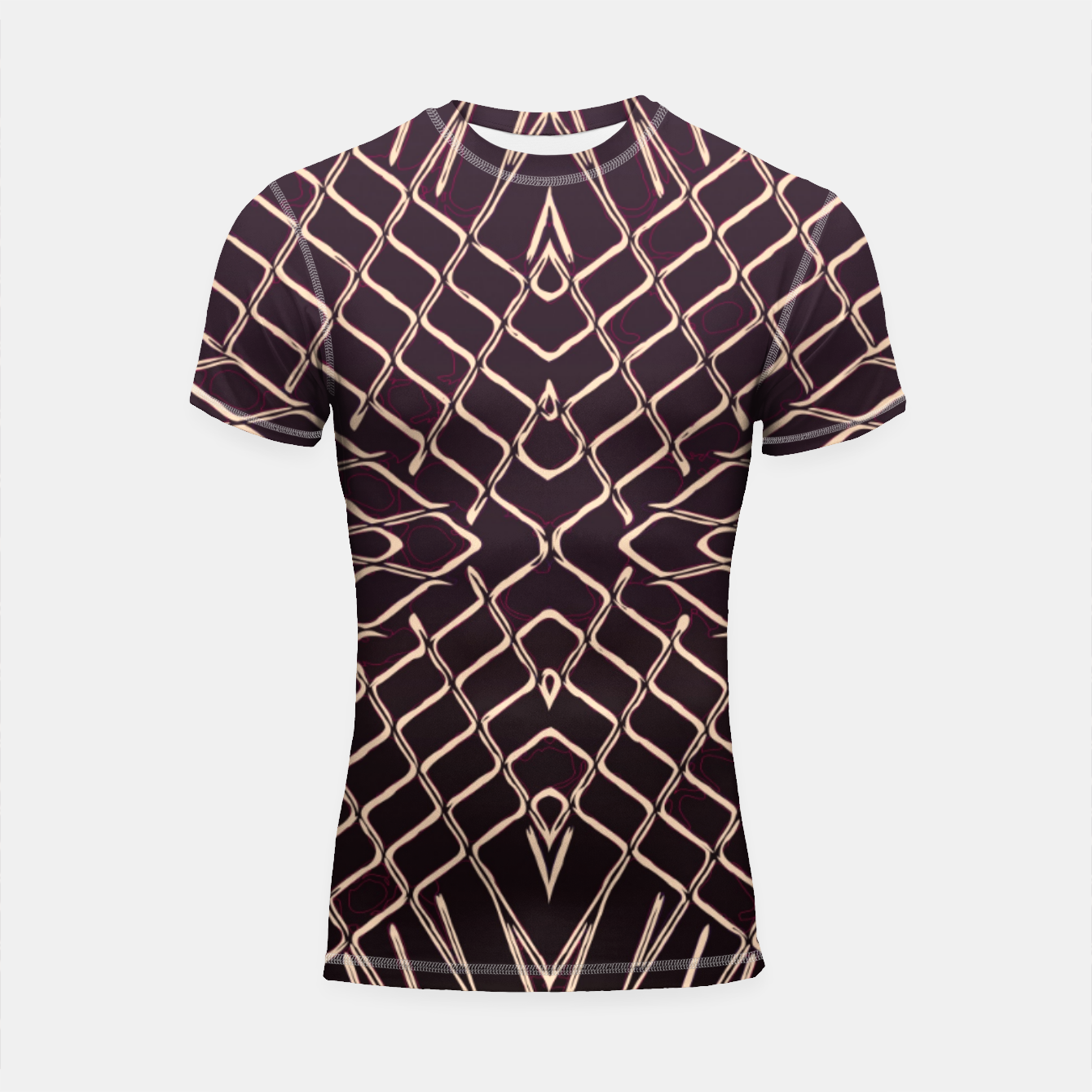 Image of geometric symmetry line pattern abstract in brown Shortsleeve rashguard - Live Heroes