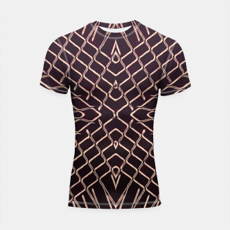 Imagen en miniatura de geometric symmetry line pattern abstract in brown Shortsleeve rashguard, Live Heroes
