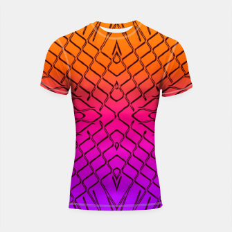 Imagen en miniatura de geometric symmetry line pattern abstract in orange purple pink Shortsleeve rashguard, Live Heroes