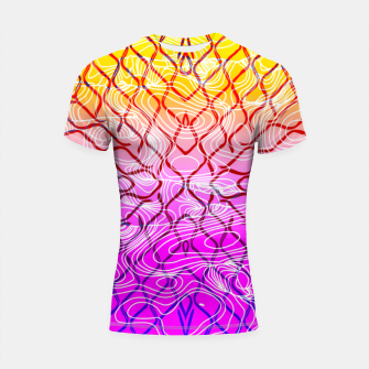 Imagen en miniatura de geometric symmetry line pattern abstract in purple pink orange yellow Shortsleeve rashguard, Live Heroes
