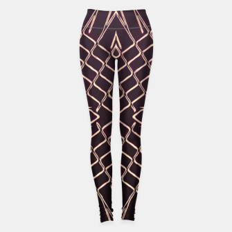 geometric symmetry line pattern abstract in brown Leggings thumbnail image