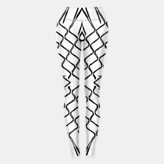 geometric symmetry line pattern abstract in black and white Leggings thumbnail image
