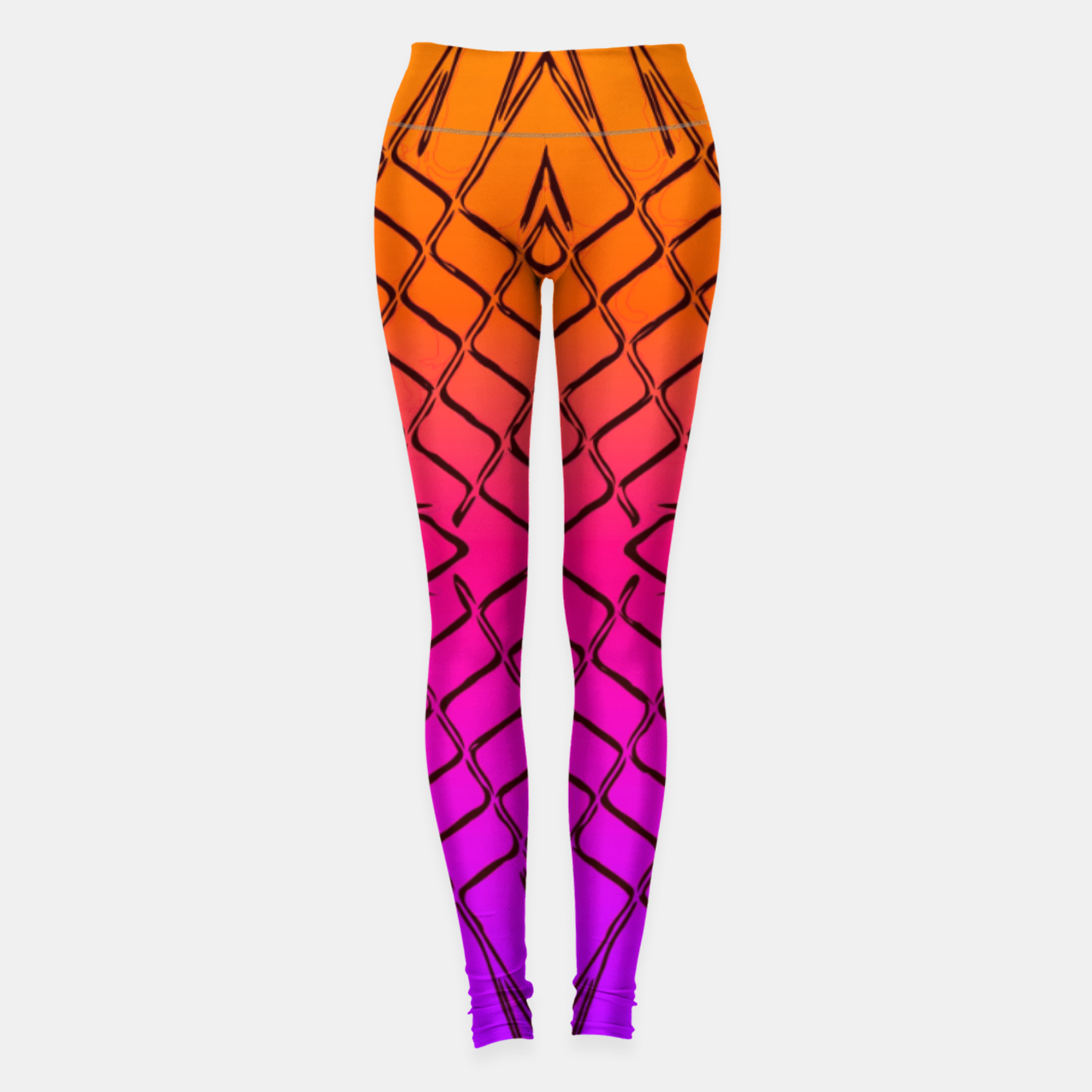 Image of geometric symmetry line pattern abstract in orange purple pink Leggings - Live Heroes
