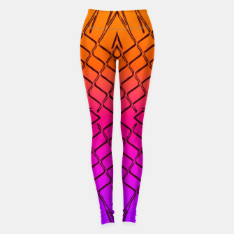 geometric symmetry line pattern abstract in orange purple pink Leggings thumbnail image