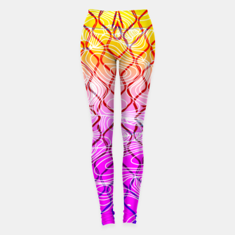 geometric symmetry line pattern abstract in purple pink orange yellow Leggings thumbnail image