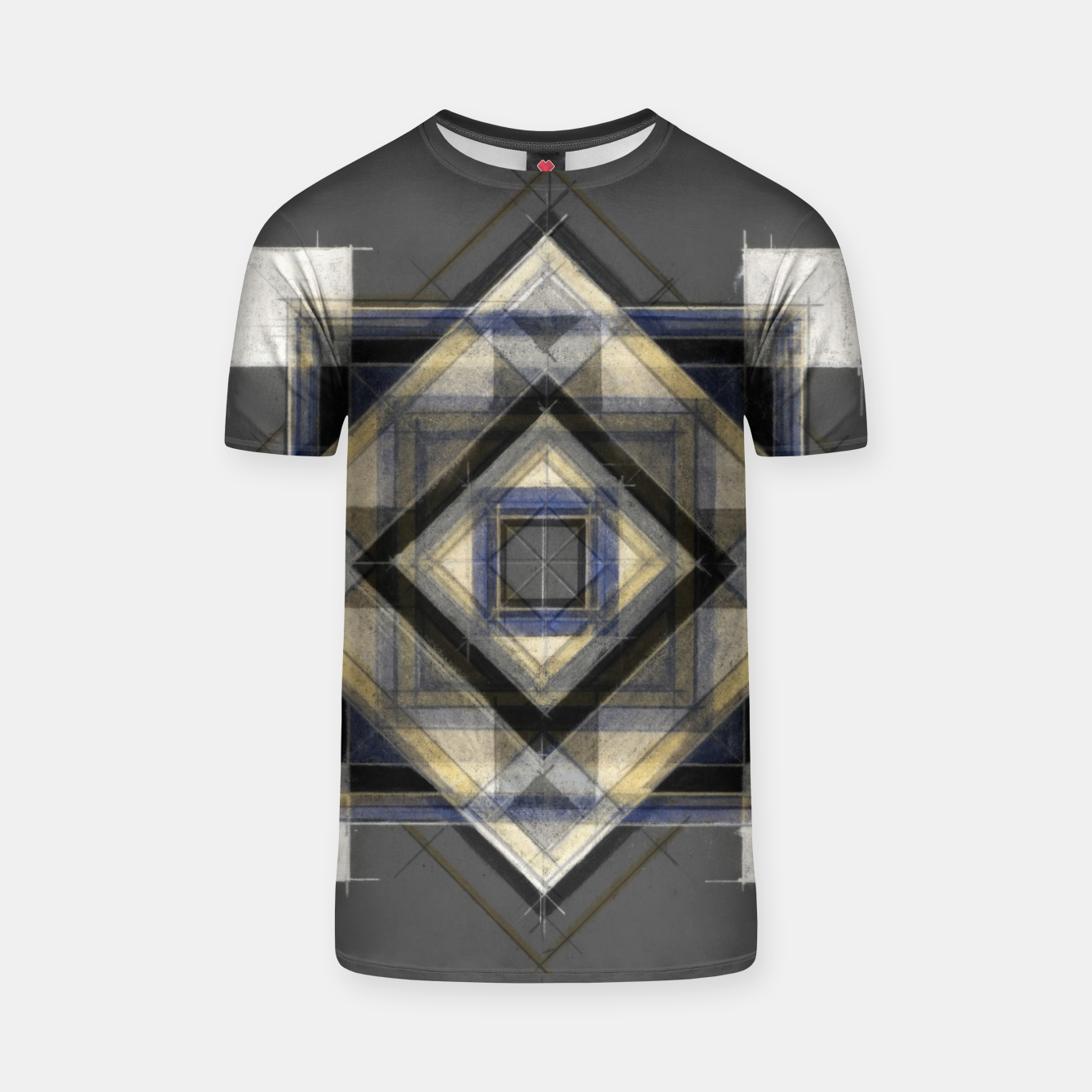 Image of Hand Made Edited Pencil Geometry in Grey T-shirt - Live Heroes