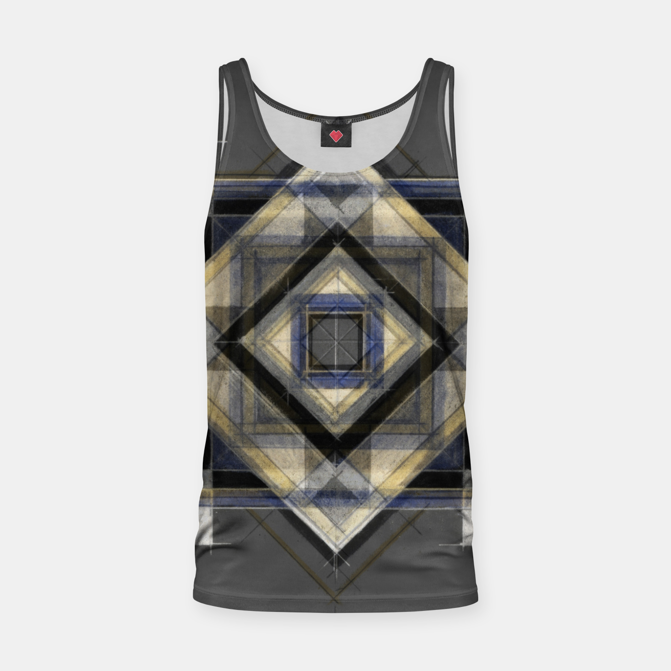 Image of Hand Made Edited Pencil Geometry in Grey Tank Top - Live Heroes