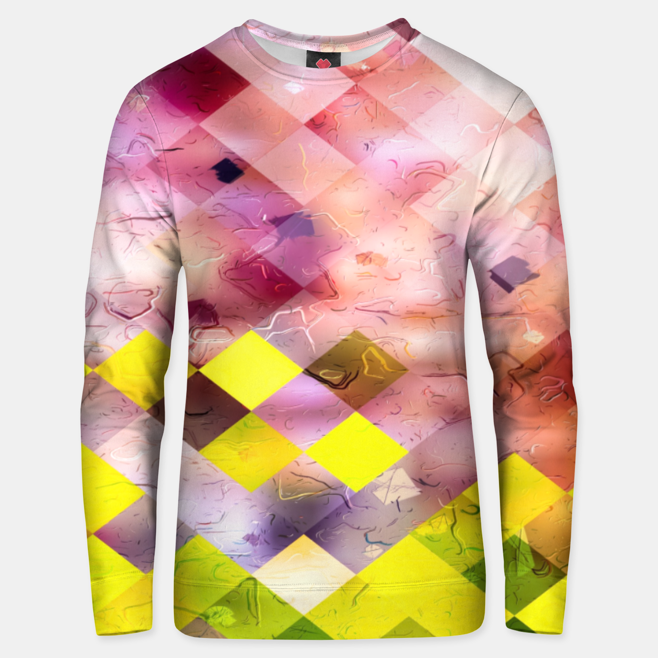 Image of geometric square pixel pattern abstract in green yellow purple Unisex sweater - Live Heroes