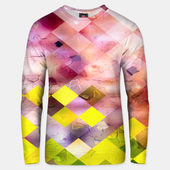 geometric square pixel pattern abstract in green yellow purple Unisex sweater thumbnail image