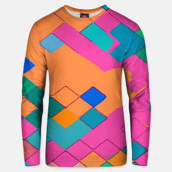 Imagen en miniatura de geometric square pixel pattern abstract in pink orange green Unisex sweater, Live Heroes