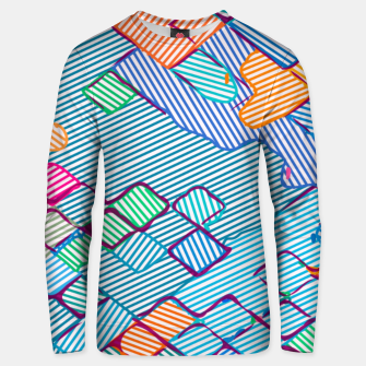geometric square pixel pattern abstract in blue pink orange Unisex sweater thumbnail image