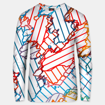 fractal geometric line abstract background in red blue yellow Unisex sweater thumbnail image