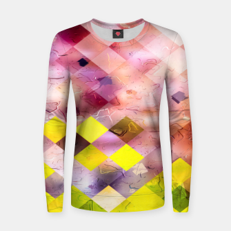geometric square pixel pattern abstract in green yellow purple Women sweater thumbnail image