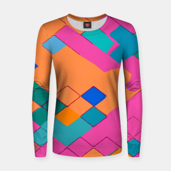 Imagen en miniatura de geometric square pixel pattern abstract in pink orange green Women sweater, Live Heroes