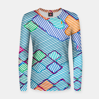 geometric square pixel pattern abstract in blue pink orange Women sweater thumbnail image
