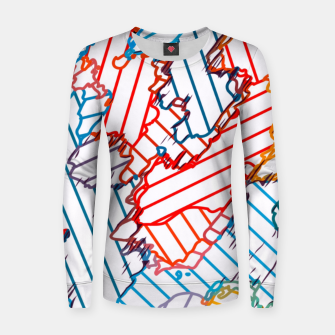 fractal geometric line abstract background in red blue yellow Women sweater thumbnail image
