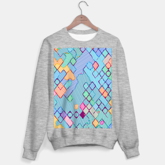 geometric square pixel pattern abstract in blue pink orange Sweater regular thumbnail image