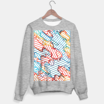 fractal geometric line abstract background in red blue yellow Sweater regular thumbnail image