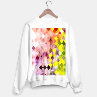 Imagen en miniatura de geometric square pixel pattern abstract in green yellow purple Sweater regular, Live Heroes