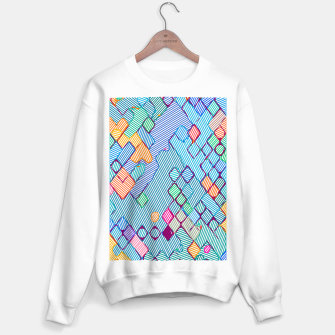 Thumbnail image of geometric square pixel pattern abstract in blue pink orange Sweater regular, Live Heroes