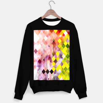 Miniaturka geometric square pixel pattern abstract in green yellow purple Sweater regular, Live Heroes