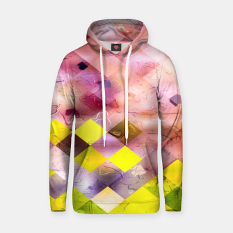 geometric square pixel pattern abstract in green yellow purple Hoodie thumbnail image