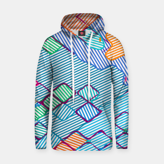 geometric square pixel pattern abstract in blue pink orange Hoodie thumbnail image