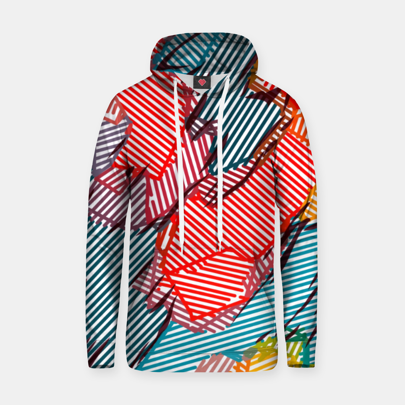 Image of fractal geometric line abstract background in red yellow blue Hoodie - Live Heroes