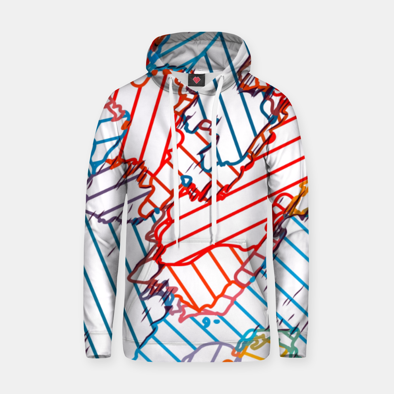 Image of fractal geometric line abstract background in red blue yellow Hoodie - Live Heroes