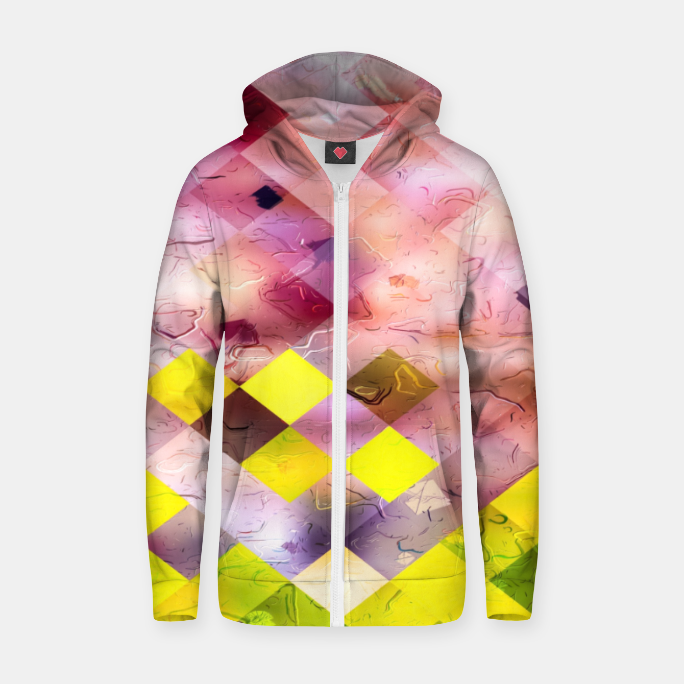 Image of geometric square pixel pattern abstract in green yellow purple Zip up hoodie - Live Heroes