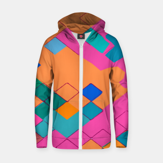 Imagen en miniatura de geometric square pixel pattern abstract in pink orange green Zip up hoodie, Live Heroes