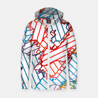 fractal geometric line abstract background in red blue yellow Zip up hoodie thumbnail image
