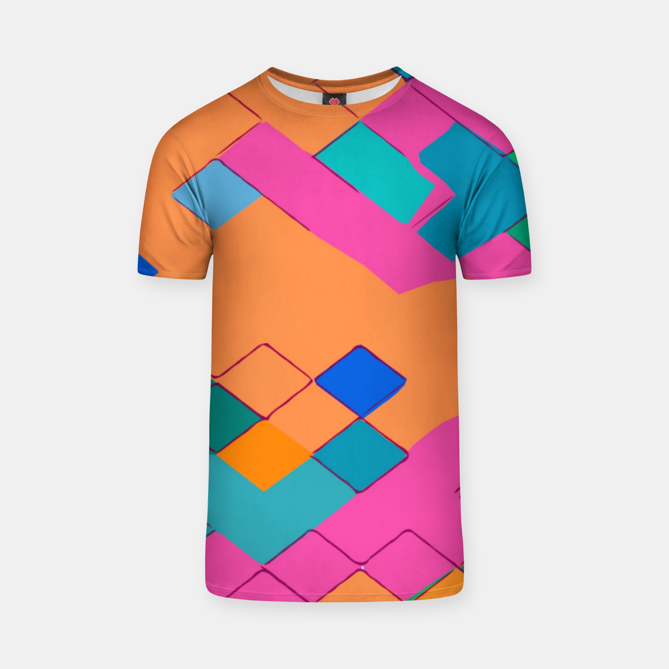 Image of geometric square pixel pattern abstract in pink orange green T-shirt - Live Heroes