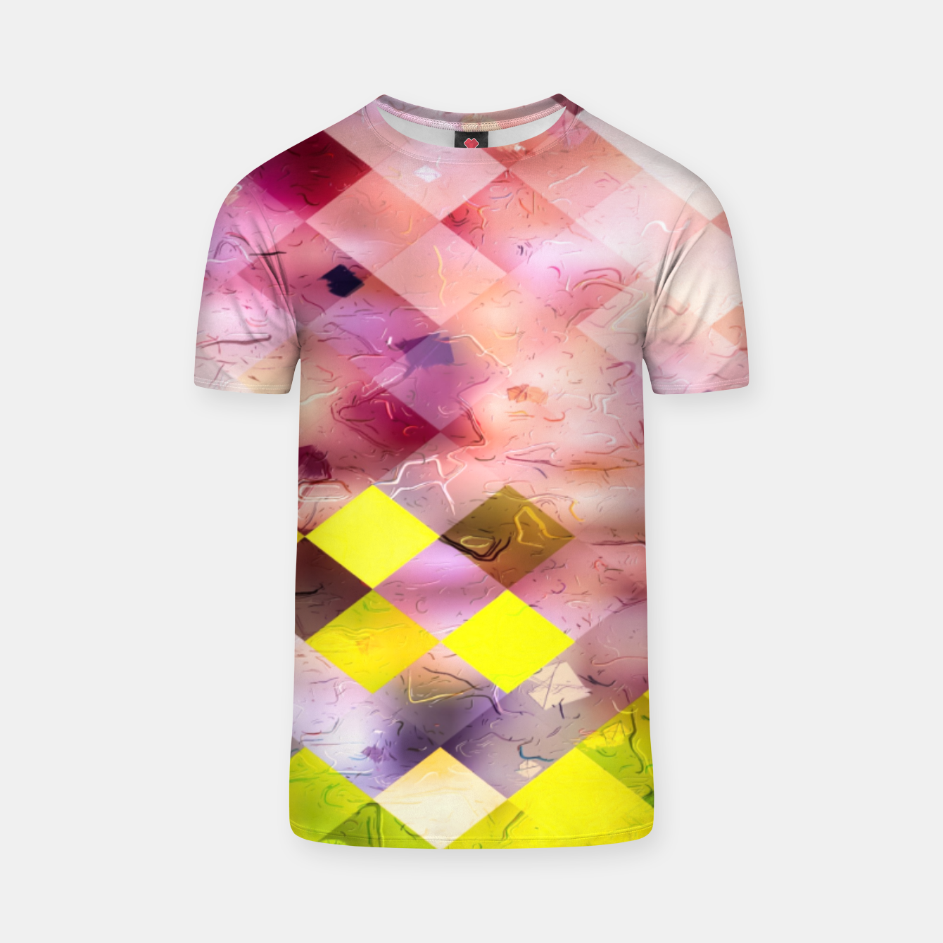 Image of geometric square pixel pattern abstract in green yellow purple T-shirt - Live Heroes