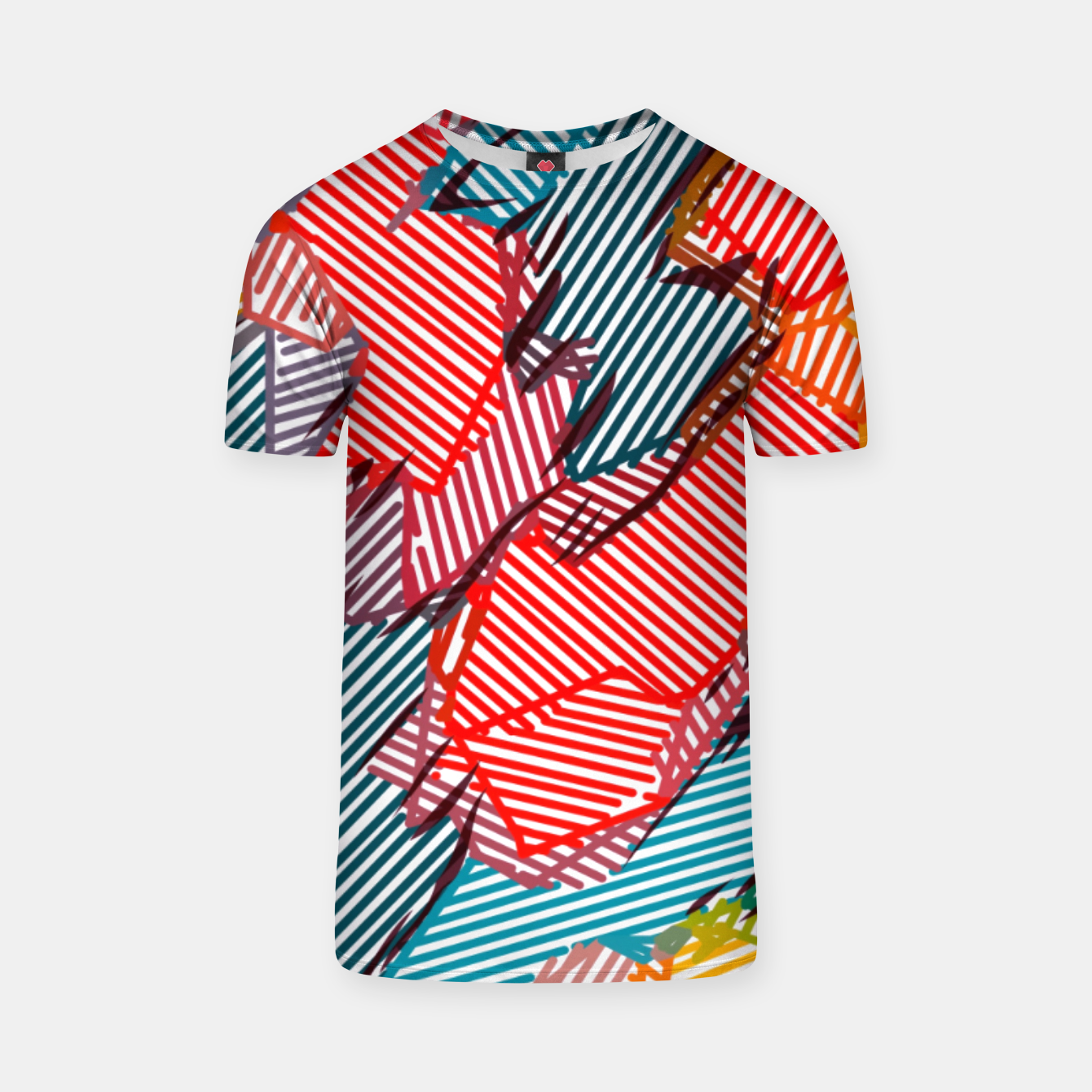 Image of fractal geometric line abstract background in red yellow blue T-shirt - Live Heroes