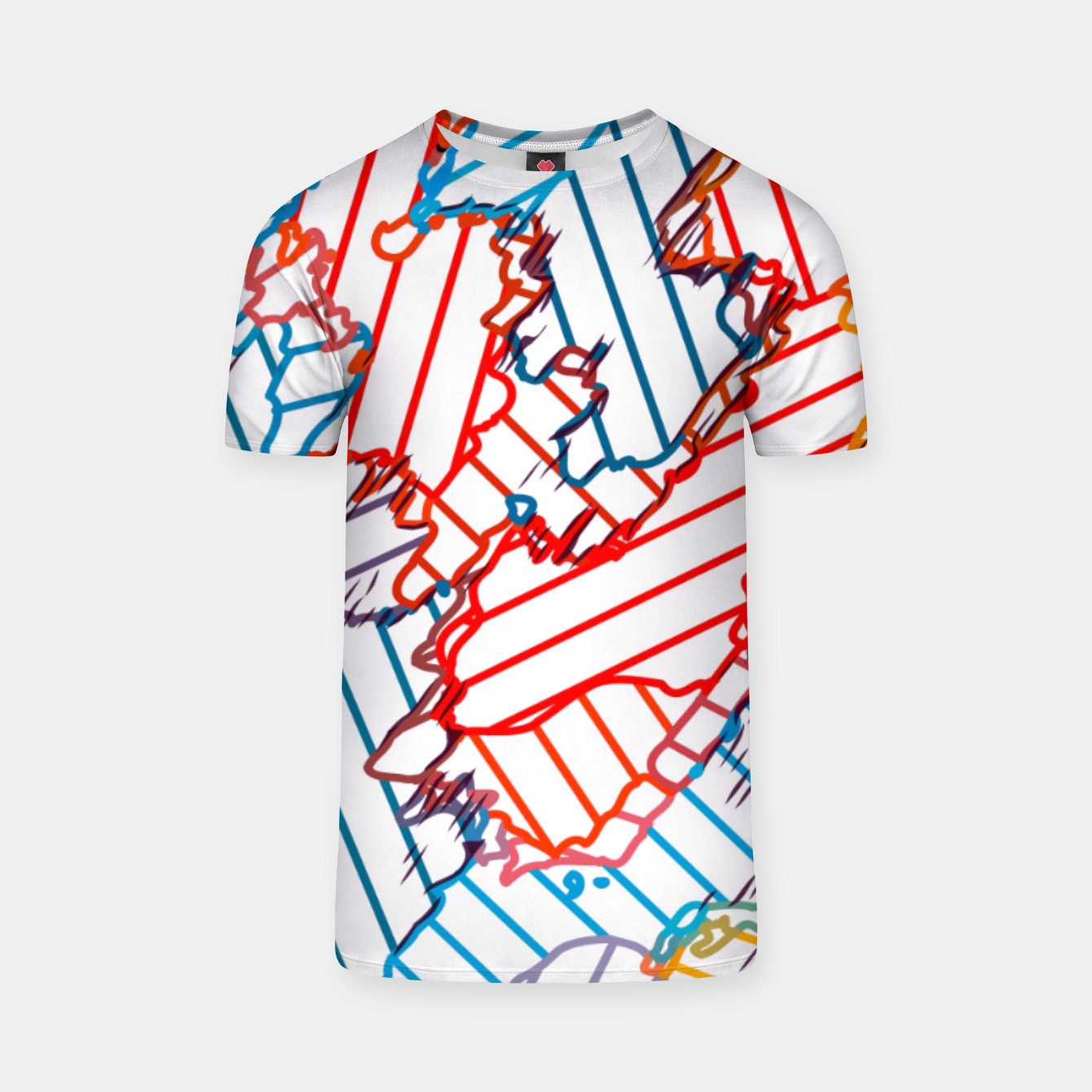 Image of fractal geometric line abstract background in red blue yellow T-shirt - Live Heroes