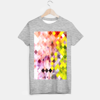 geometric square pixel pattern abstract in green yellow purple T-shirt regular thumbnail image