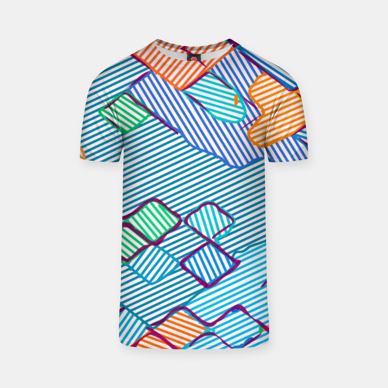 Image of geometric square pixel pattern abstract in blue pink orange T-shirt - Live Heroes