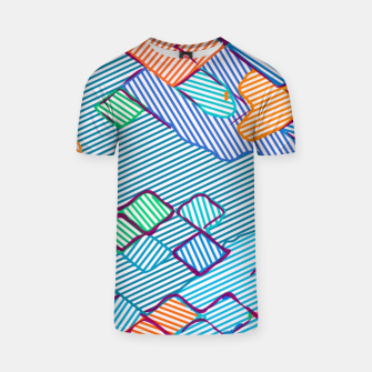 geometric square pixel pattern abstract in blue pink orange T-shirt thumbnail image