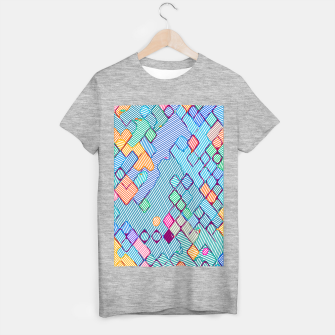 geometric square pixel pattern abstract in blue pink orange T-shirt regular thumbnail image