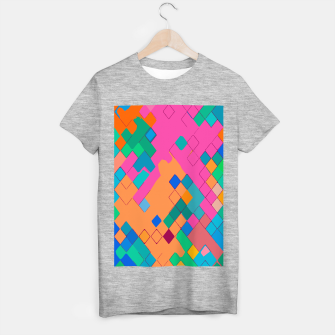 geometric square pixel pattern abstract in pink orange green T-shirt regular thumbnail image