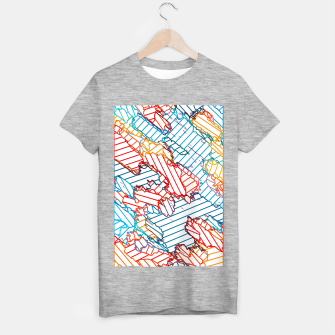 fractal geometric line abstract background in red blue yellow T-shirt regular thumbnail image