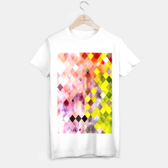 Imagen en miniatura de geometric square pixel pattern abstract in green yellow purple T-shirt regular, Live Heroes
