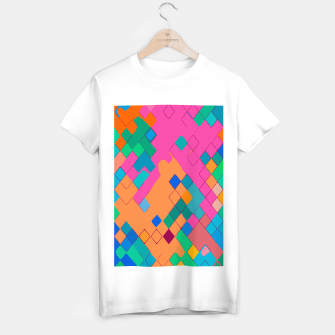 Imagen en miniatura de geometric square pixel pattern abstract in pink orange green T-shirt regular, Live Heroes