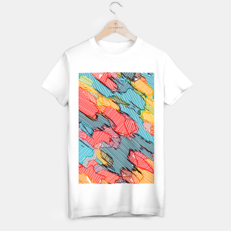 Thumbnail image of fractal geometric line abstract background in red yellow blue T-shirt regular, Live Heroes