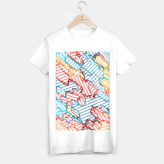 Thumbnail image of fractal geometric line abstract background in red blue yellow T-shirt regular, Live Heroes