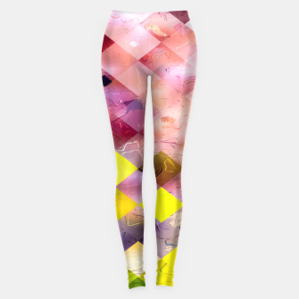 geometric square pixel pattern abstract in green yellow purple Leggings thumbnail image